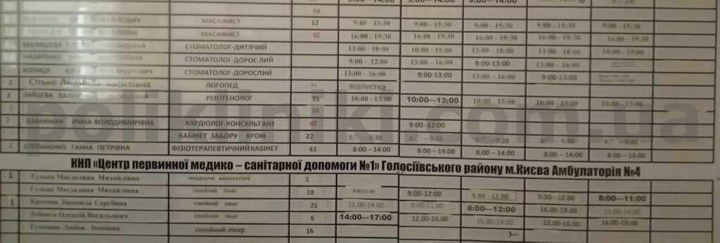 поліклініка вул. Набережно-Корчуватська 56/66 Голслсіівський район Києва