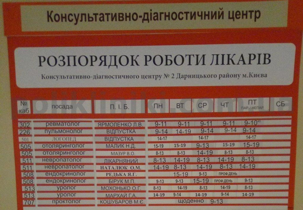 Поліклініка № 1 dek/{fhmrsdcmrt ijct 121Дарницького району Києва