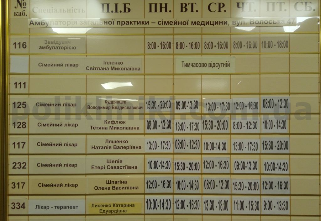 Поліклініка вул. Волоська 47 Подільського району Київ