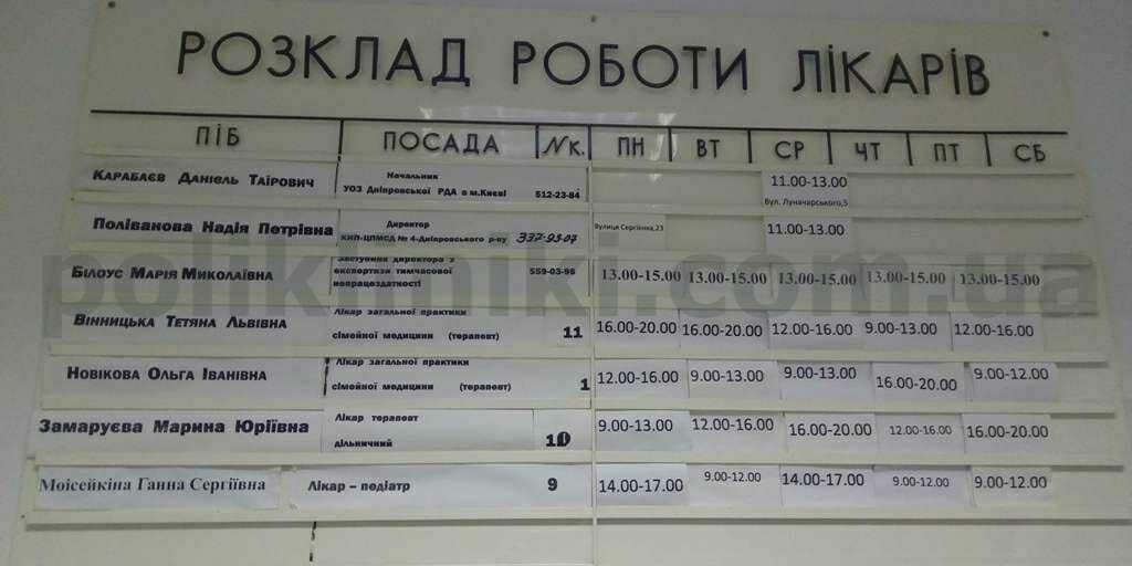 поліклініка вул. Двінська 19 Дніпровський район Києва